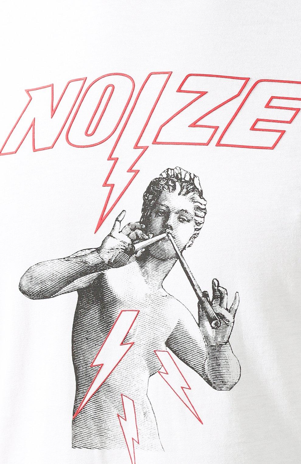 Хлопковая футболка с принтом Diesel белая   Фото №5