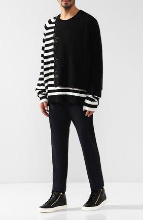 Высокие кожаные кеды Kriss Plus на шнуровке Giuseppe Zanotti Design черные | Фото №1