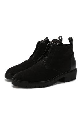 Замшевые ботинки на шнуровке с внутренней меховой отделкой Giuseppe Zanotti Design черные | Фото №1