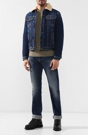 Джинсовая куртка на пуговицах с меховой отделкой воротника Moorer синяя   Фото №1