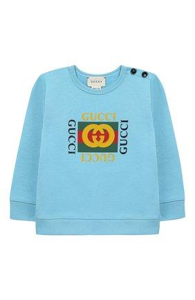Детский хлопковый свитшот с логотипом бренда GUCCI голубого цвета, арт. 497819/X9P52 | Фото 1