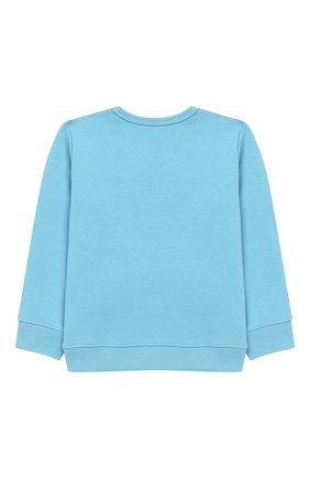 Детский хлопковый свитшот с логотипом бренда GUCCI голубого цвета, арт. 497819/X9P52 | Фото 2