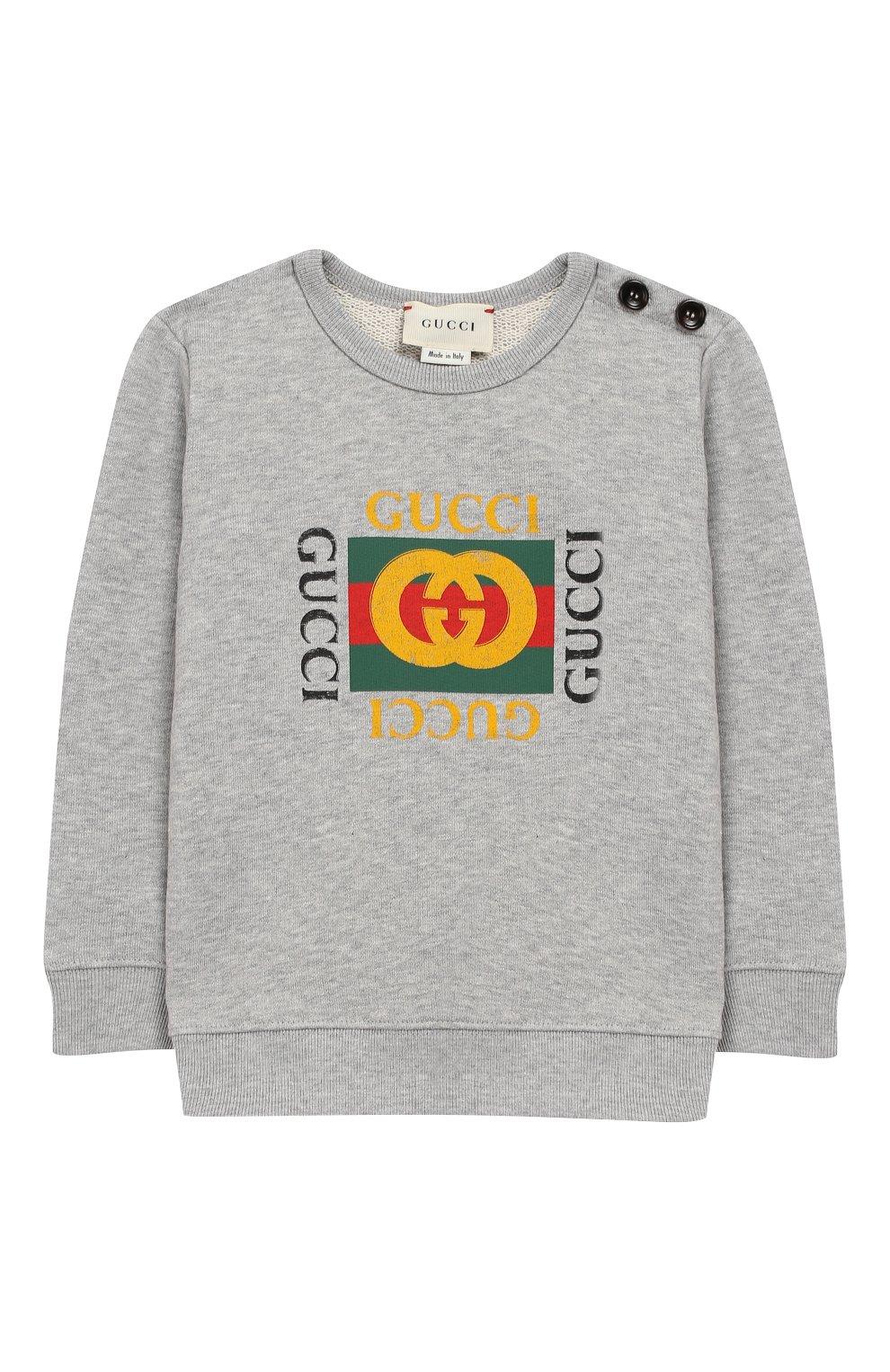 Детский хлопковый свитшот с логотипом бренда GUCCI серого цвета, арт. 497819/X9P52 | Фото 1