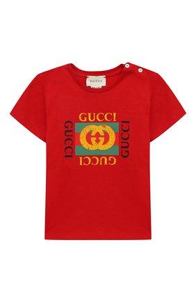 Детский хлопковая футболка с логотипом бренда GUCCI красного цвета, арт. 497845/X3L91 | Фото 1