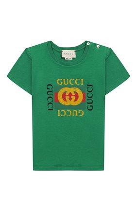 Детский хлопковая футболка с логотипом бренда GUCCI зеленого цвета, арт. 497845/X3L91 | Фото 1
