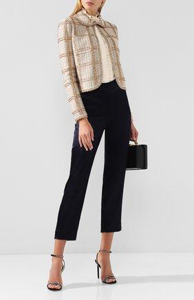Женские укороченные брюки прямого кроя с завышенной талией ST. JOHN темно-синего цвета, арт. K880W40 | Фото 2