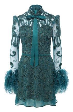 Мини-платье с декоративной отделкой и бантом | Фото №1