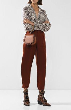 Женские укороченные шерстяные брюки CHLOÉ светло-коричневого цвета, арт. CHC18WPA75067 | Фото 2
