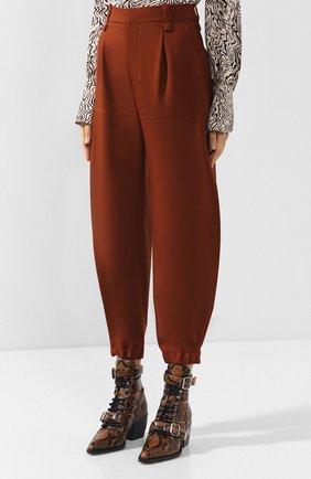 Женские укороченные шерстяные брюки CHLOÉ светло-коричневого цвета, арт. CHC18WPA75067 | Фото 3