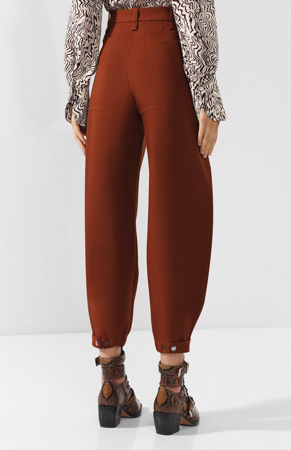 Женские укороченные шерстяные брюки CHLOÉ светло-коричневого цвета, арт. CHC18WPA75067 | Фото 4