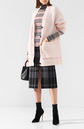Вязаный кардиган с накладными карманами By Malene Birger светло-розовый   Фото №1