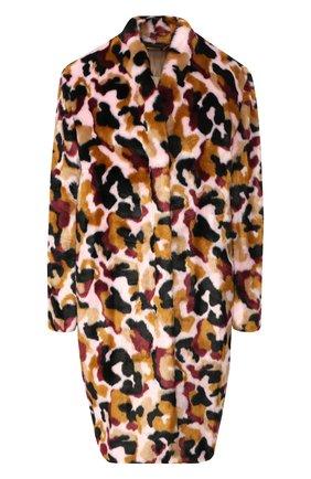 Пальто из эко-меха с принтом By Malene Birger разноцветного цвета   Фото №1