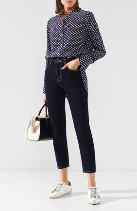Женская шелковая блуза с принтом By Malene Birger, цвет темно-синий, арт. Q65876004/SABARA в ЦУМ   Фото №1