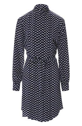 Шелковое платье с поясом и воротником-стойкой By Malene Birger темно-синее   Фото №1