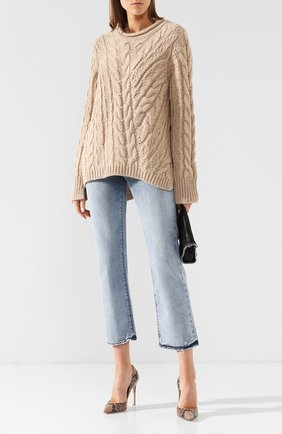 Вязаный пуловер с круглым вырезом By Malene Birger бежевый   Фото №1