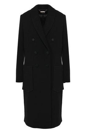 Двубортное пальто с накладными карманами By Malene Birger черного цвета   Фото №1