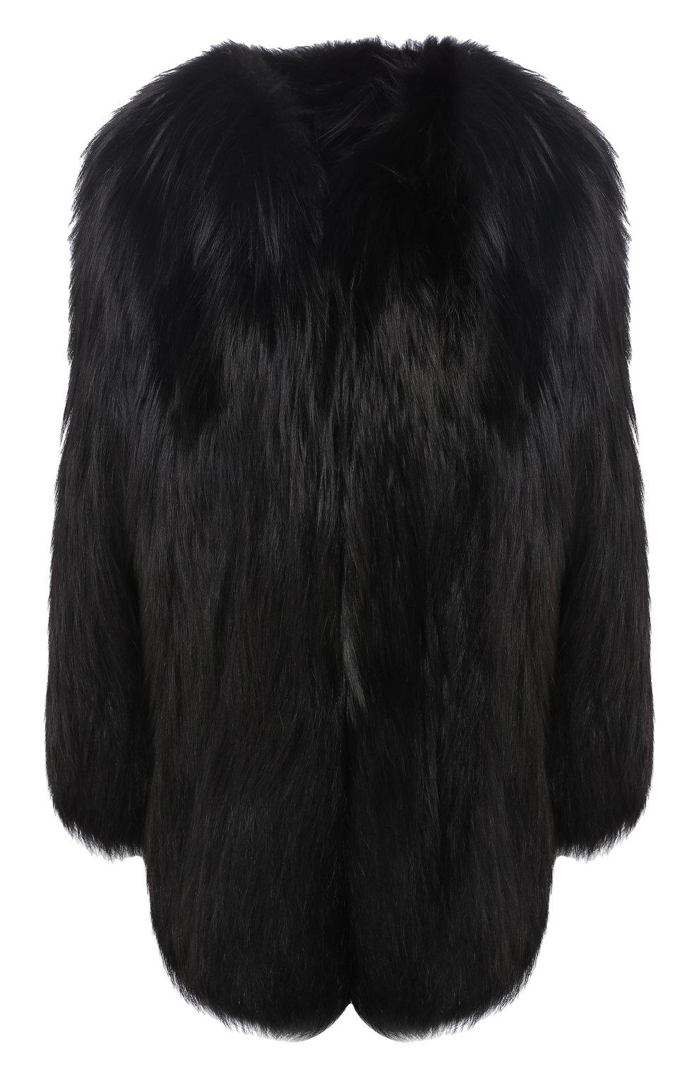 Шуба из меха лисы Saint Laurent черная   Фото №1