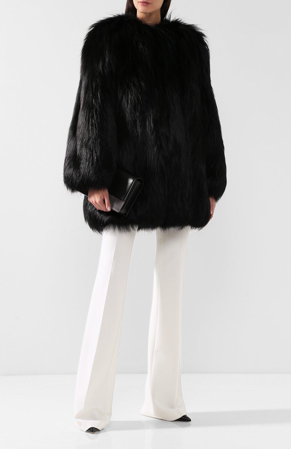 Шуба из меха лисы Saint Laurent черная   Фото №2