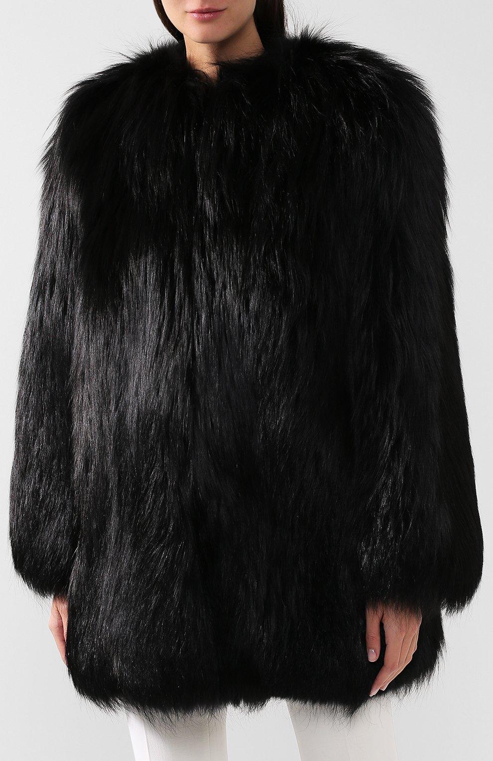 Шуба из меха лисы Saint Laurent черная   Фото №3