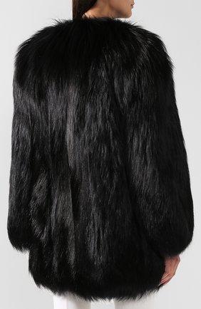 Шуба из меха лисы Saint Laurent черная   Фото №4