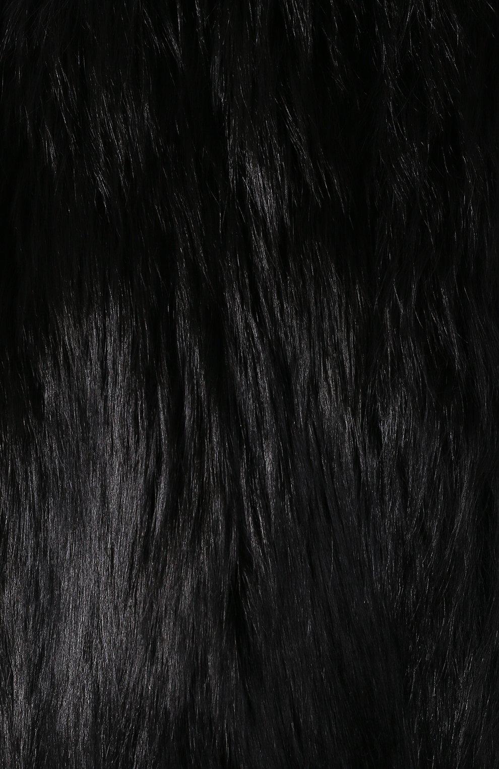 Шуба из меха лисы Saint Laurent черная   Фото №5