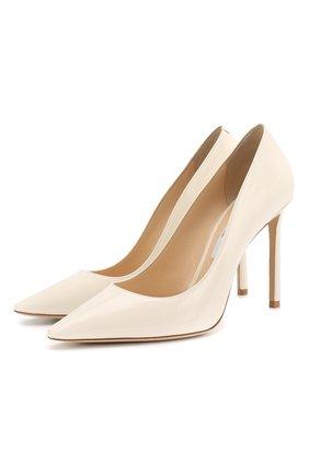 Женская кожаные туфли romy 100 JIMMY CHOO белого цвета, арт. R0MY 100/PAT | Фото 1