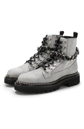 Кожаные ботинки Army с глиттером и декоративной отделкой ранта | Фото №1