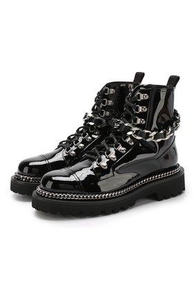 Лаковые ботинки Army с декоративной отделкой ранта | Фото №1