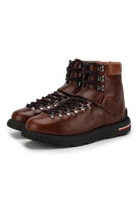 Высокие кожаные ботинки Geof на шнуровке и с застежкой велькро | Фото №1