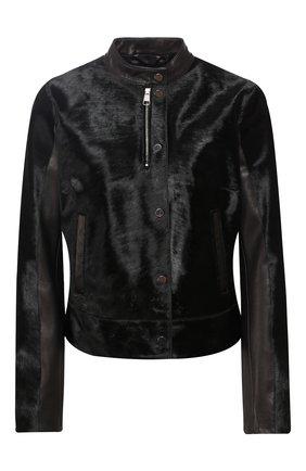 Кожаная куртка с меховой отделкой | Фото №1