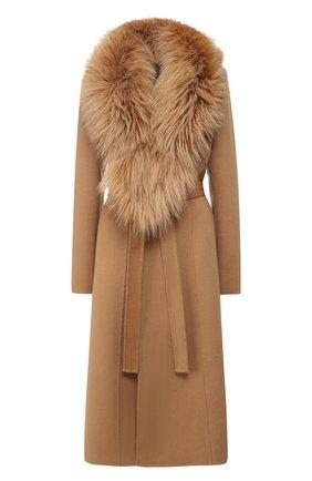 Женское пальто из смеси шерсти и кашемира с воротником из меха лисы YVES SALOMON светло-коричневого цвета, арт. 9WYM01119CARD | Фото 1