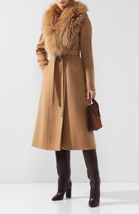 Женское пальто из смеси шерсти и кашемира с воротником из меха лисы YVES SALOMON светло-коричневого цвета, арт. 9WYM01119CARD | Фото 2