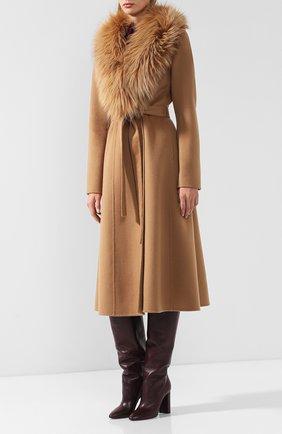 Женское пальто из смеси шерсти и кашемира с воротником из меха лисы YVES SALOMON светло-коричневого цвета, арт. 9WYM01119CARD | Фото 3