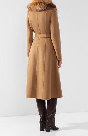 Женское пальто из смеси шерсти и кашемира с воротником из меха лисы YVES SALOMON светло-коричневого цвета, арт. 9WYM01119CARD | Фото 4