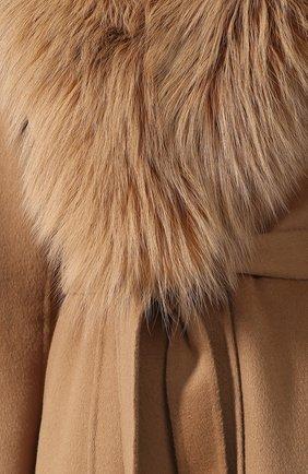 Женское пальто из смеси шерсти и кашемира с воротником из меха лисы YVES SALOMON светло-коричневого цвета, арт. 9WYM01119CARD | Фото 5