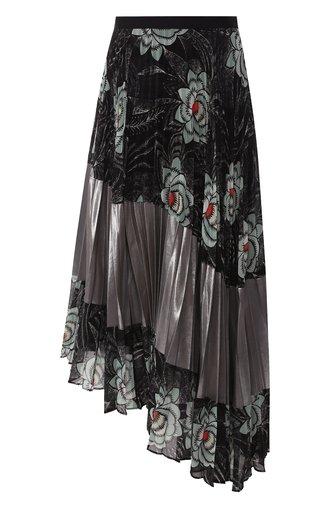 Плиссированная юбка-миди с принтом