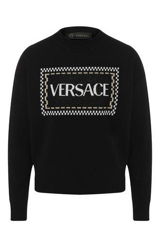 Шерстяной пуловер с логотипом бренда