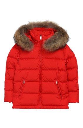 Стеганая куртка с меховой отделкой на капюшоне   Фото №1