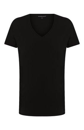 Мужские хлопковая футболка с v-образным вырезом DEREK ROSE черного цвета, арт. 8025-JACK001 | Фото 1