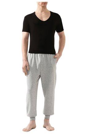 Мужские хлопковая футболка с v-образным вырезом DEREK ROSE черного цвета, арт. 8025-JACK001 | Фото 2