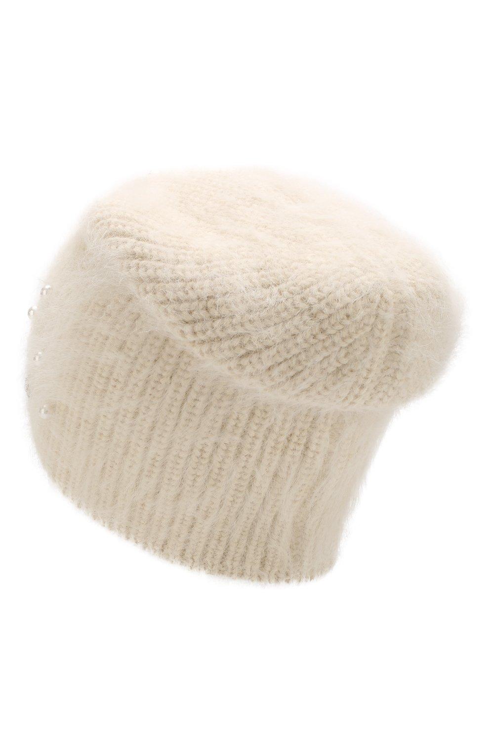 Шерстяная шапка с аппликацией и отделкой из кристаллов Jennifer Behr белого цвета | Фото №2