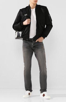 Мужские кожаные кеды ace GUCCI белого цвета, арт. 429446/A38G0 | Фото 2