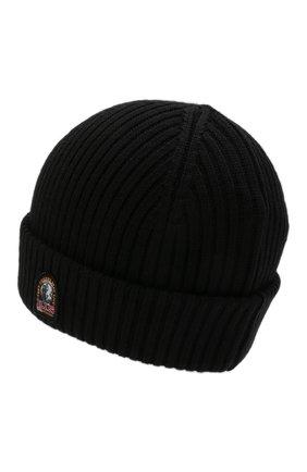 Мужская шерстяная шапка PARAJUMPERS черного цвета, арт. HA02/RIB HAT   Фото 2 (Материал: Текстиль, Шерсть, Синтетический материал; Статус проверки: Проверено, Проверена категория; Кросс-КТ: Трикотаж)
