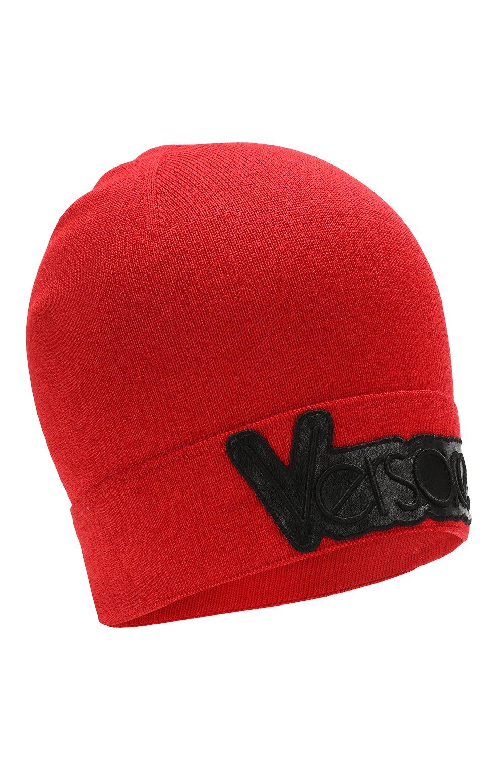 Шапка бини из смеси шерсти и шелка Versace красного цвета | Фото №1