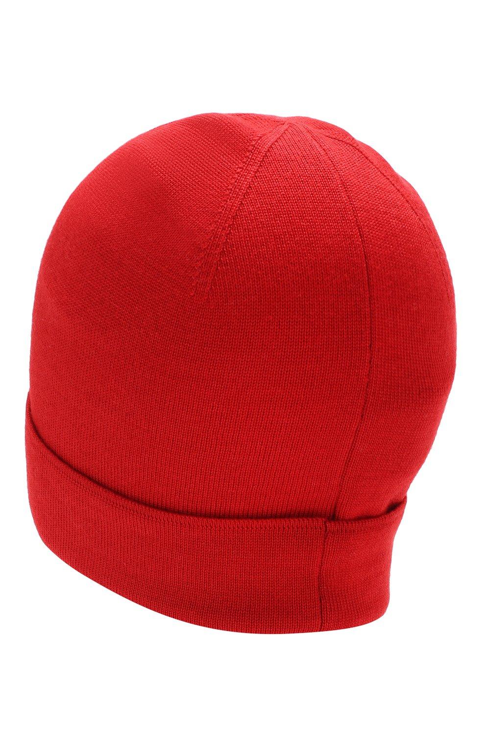 Шапка бини из смеси шерсти и шелка Versace красного цвета | Фото №2