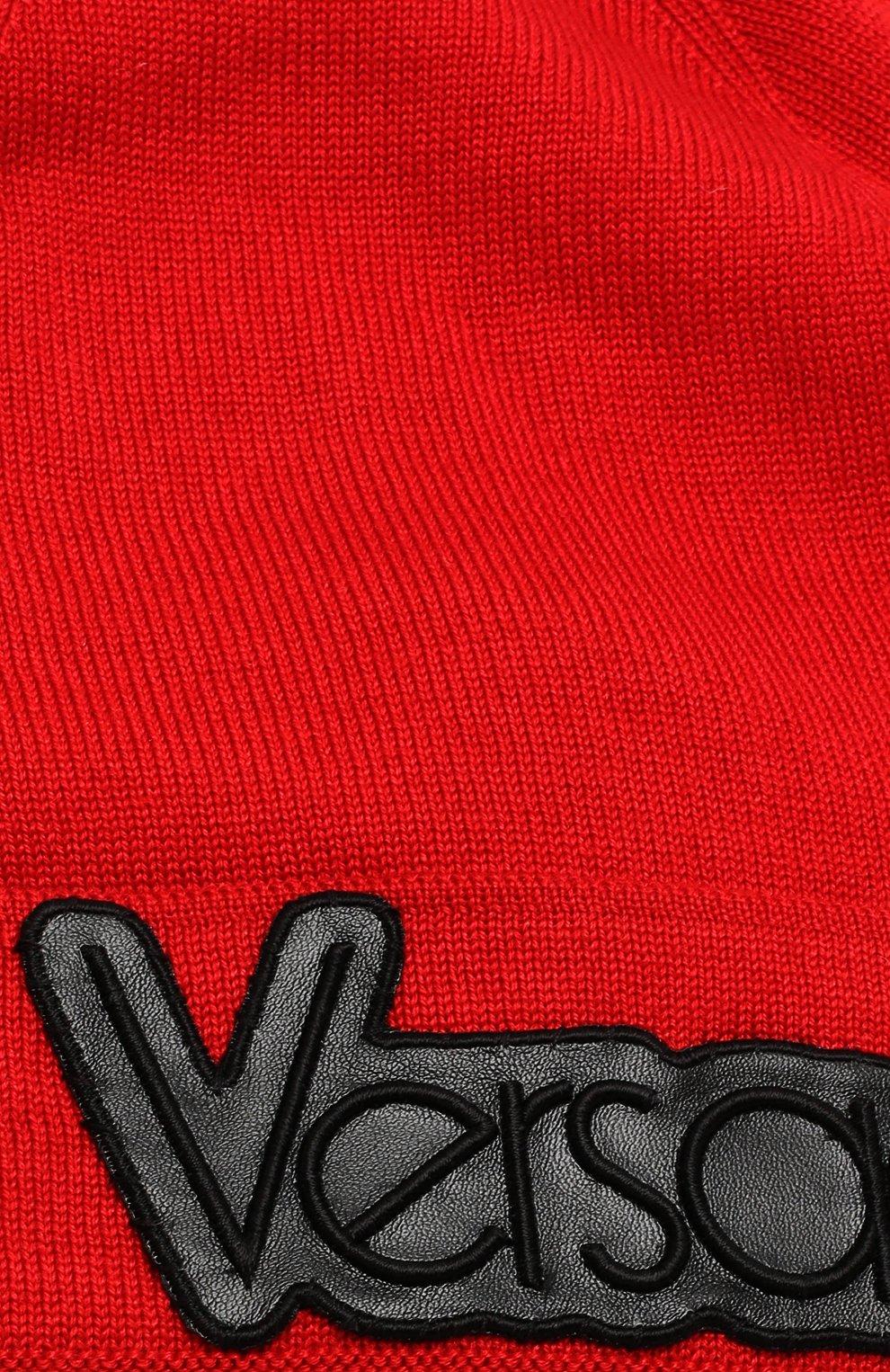 Шапка бини из смеси шерсти и шелка Versace красного цвета | Фото №3