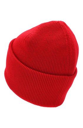 Шерстяная вязаная шапка с логотипом бренда Canada Goose красного цвета | Фото №2