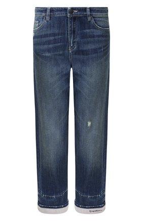 Укороченные джинсы с потертостями и отворотами | Фото №1