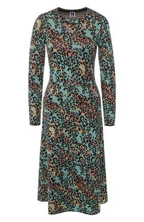 Вязаное платье-миди с принтом и металлизированной нитью   Фото №1