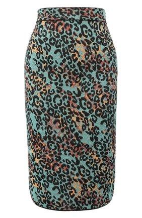 Вязаная юбка-миди с принтом и металлизированной нитью   Фото №1